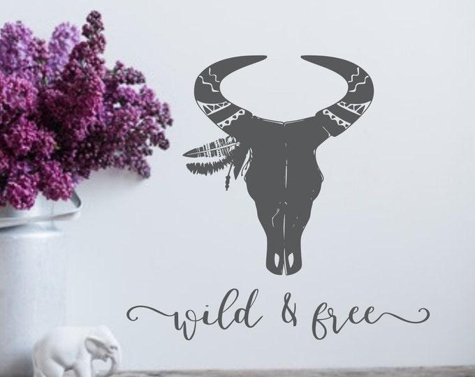 Wild and free boho skull wall decal, animal skull decal, wild and free decal