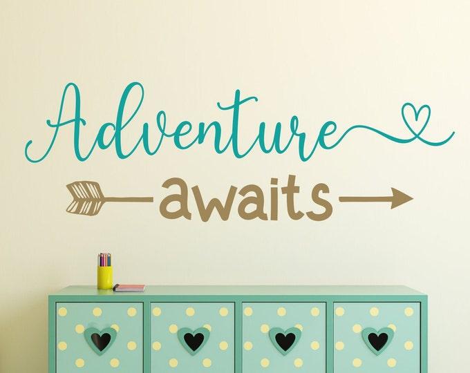 Adventure awaits decal, nursery adventure decal, nursery wall decal, baby room decal, wall decal nursery, adventure nursery