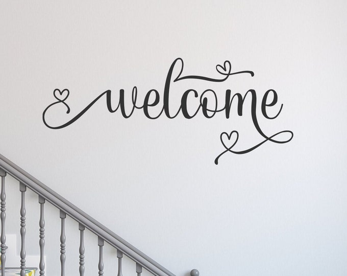 Welcome decal, welcome wall decal, entryway decor, welcome sign, front door decal, entryway decal, guest room decal