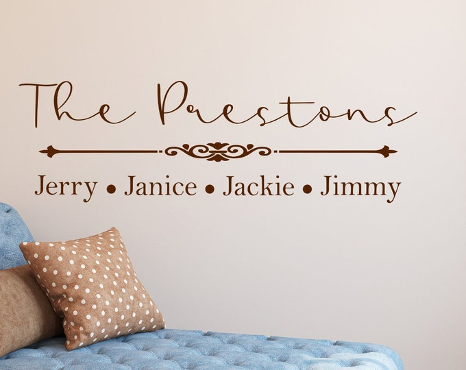 Custom Last name wall decal with first names, family name decal, family wall art, custom home decor, personalized wall art