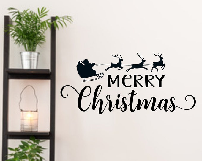 Merry Christmas front door decal, happy holidays, entryway decor, window decal