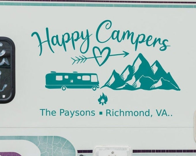 Happy Campers, Custom rv decal, camper decal, motorhome decal, personalized decal, last name decal, adventure awaits