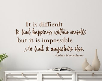 Happiness quote wall decal // happiness wall art, happiness is found from within.