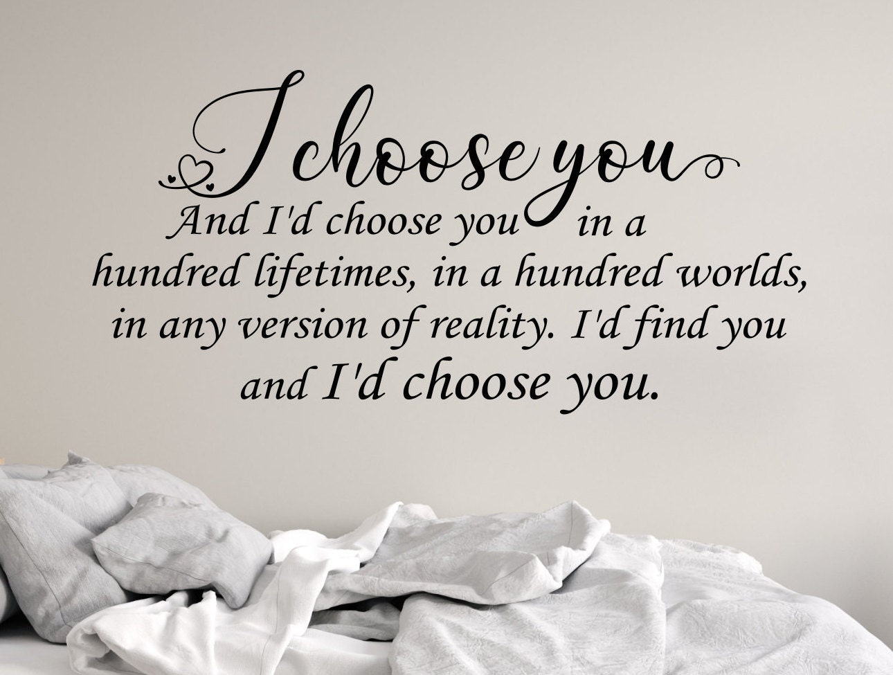 I Choose You Bedroom Wall Decal Couples Wall Art Love Wall Decal Master Bedroom Art Bedroom Wall Art I Love You