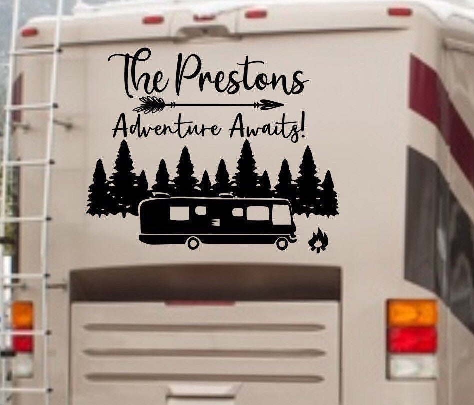 Personalised With Your Names Camper Decal Motorhome Sticker On An Adventure