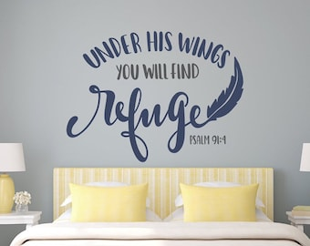 Psalms wall decals, Christian wall art, psalm 91 4, Christian decal, Christian wall decor, Under his wings, they will find refuge