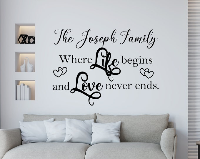 Custom family last name wall decal, personalized Family wall decor, Family wall decal // where life begins and love never ends