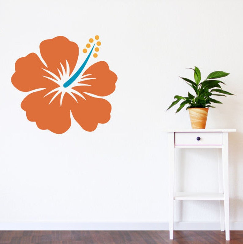fa401b7399 Hawaiian flower decal hibiscus wall decal colorful flower | Etsy