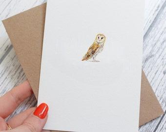 Barn Owl Greeting Card, Blank Greeting Card, British Countryside and Wildlife, Nature Card, Blank Card, Barn Owl, Wildlife Card, Barn Owls