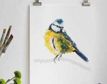 Blue Tit Bird Print, Blue Tit Print, Illustration Bird Print, Bird Art Print, Nature Print, Bird Print, Wall Print, Wildlife Print