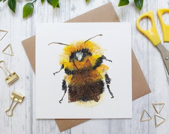 Bumblebee Blank Greeting Card, Countryside and Wildlife, Nature Card, Bee Card, Blank Card