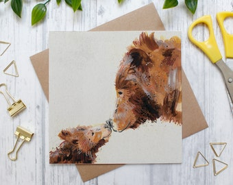 Two Brown Bears Birthday Card, Fathers Day Card, Anniversary Card, Animal Card, Brown Bears, Friendship Card