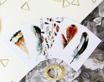 Gift Wrapping Organisational Tags, Bird Feather Illustrated Gift Tags
