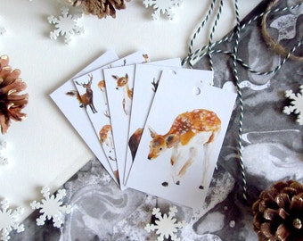 Gift Wrapping Organisational Tags, Deer Illustrated Gift Tags