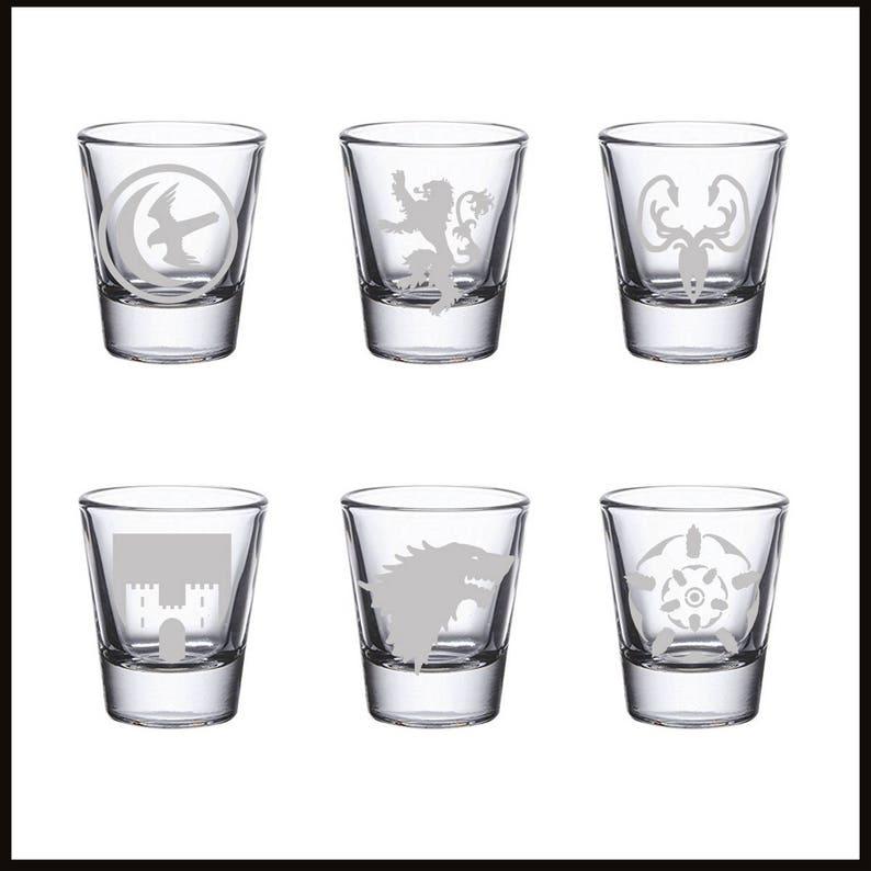 55080c20aa59 Game of Thrones Shot Glasses Arryn Frey Greyjoy Lannister