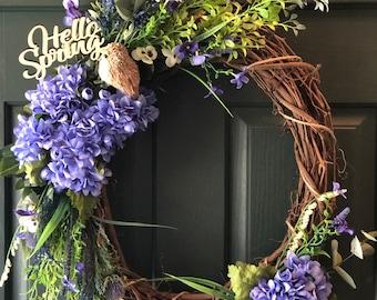 Spring Wreath   Flower Wreath   Spring Decorations   Bird Wreath   Farmhouse Style   Floral Home Decor    Front Door Decor   Purple Wreath
