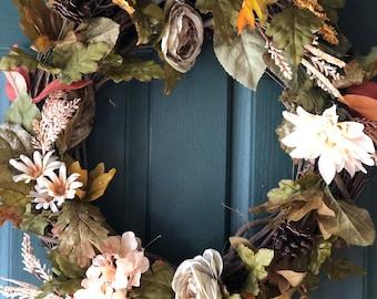 Handmade Wreaths  Fall Leaves Wreath   Fall Wreath  Rustic Wreath  Farmhouse Wreath  Wreath with Pinecones  Floral Home Decor  Fall Decor  