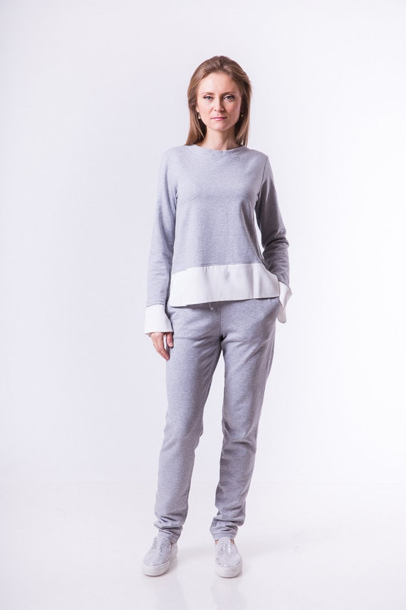 Women's sports suit, Tracksuit for home, Knitted tracksuit, Gray tracksuit, Sports jacket, Sweatpants, Women's clothing, Clothes for women