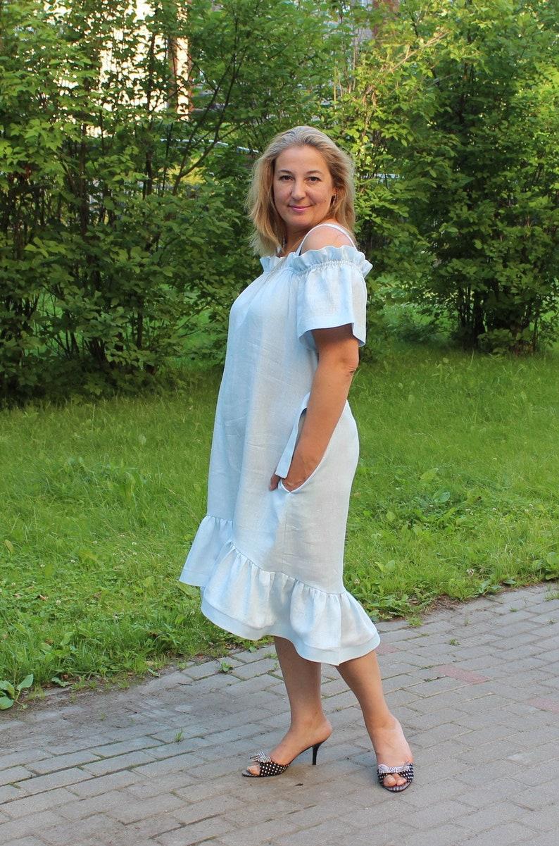 1a37e0989ba Linen dress plus size clothing Cotton dress plus size