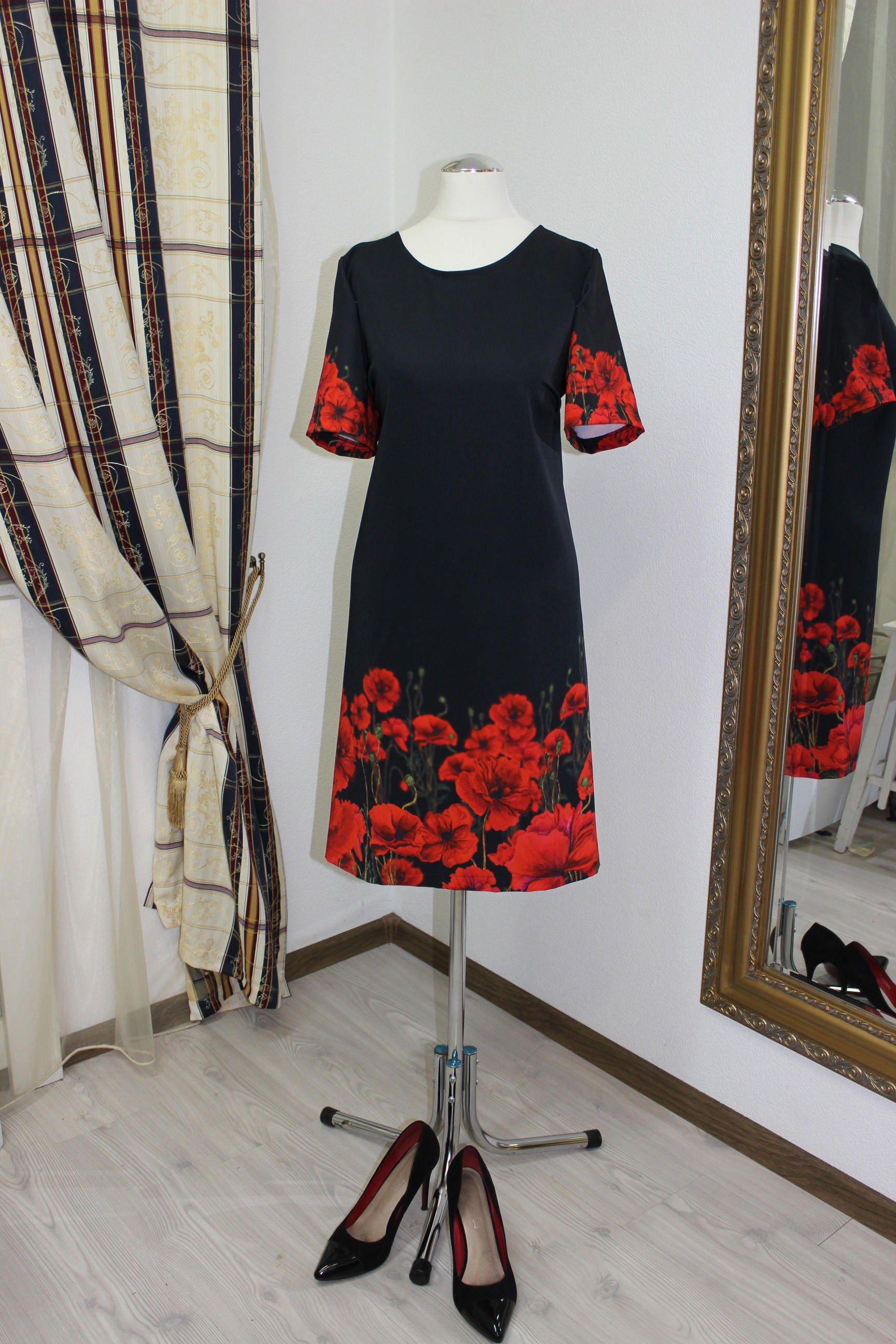 women dress, black dress, floral dress, kleid, midi dress, formal dress,  elegant dress