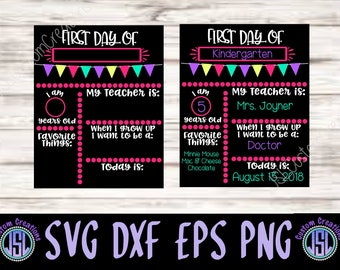 first day of school sign template svg eps dxf png pdf digital download for silhouette cricut vectors school girl chalkboard
