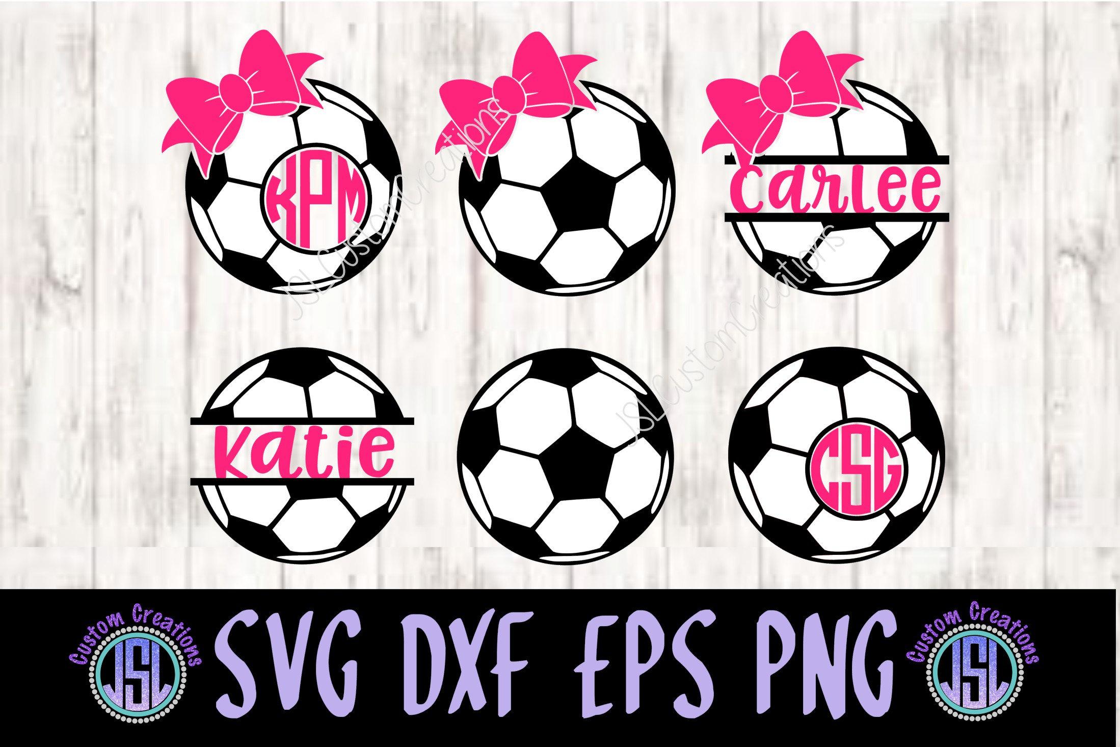Soccer Monogram Frames & Split Name SVG Dxf EPS Png | Etsy