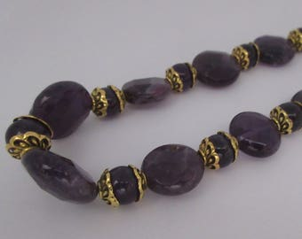 18SP166 - Faceted Amethyst with Golden Accents Necklace