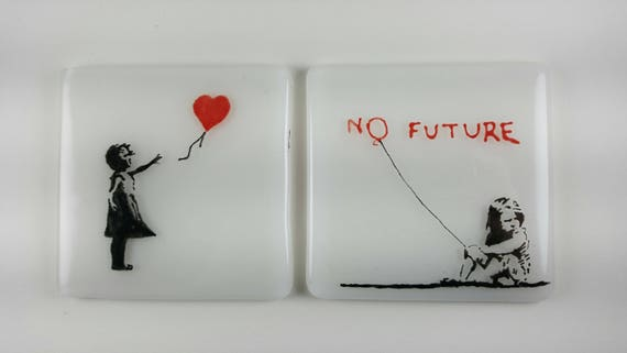 Banksy Fused Glass Coasters 2 Piece Set Girl With Balloon No Etsy