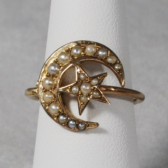 Victorian Crescent Moon & Star Seed Pearl Ring; Pi