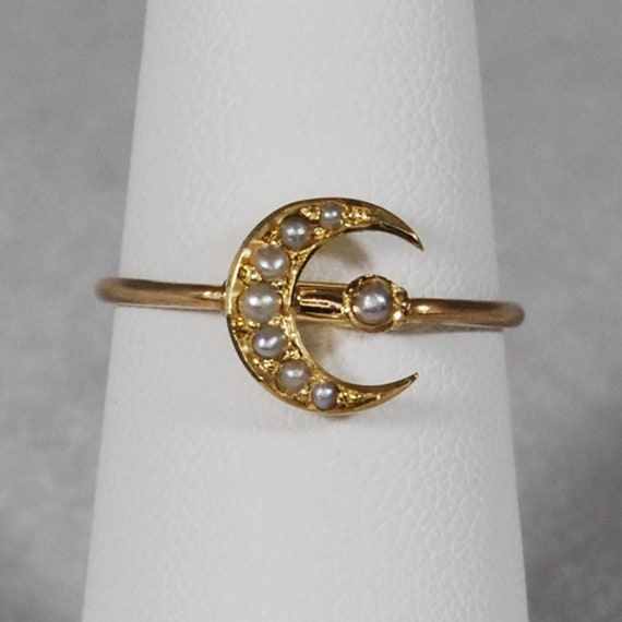 14k Victorian Seed Pearl Crescent Moon Ring; Pin C