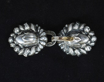 Early 19th Century French Sterling Cloak Clasp; Georgian Victorian 950 Sterling