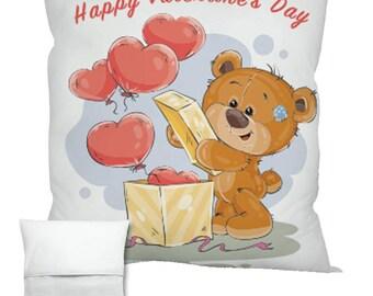 Valentine's Bear With Balloons Cushion