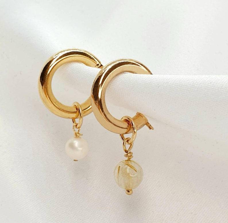 Solid Gold Earrings Solid Gold Pearl Earrings Rutilated image 0