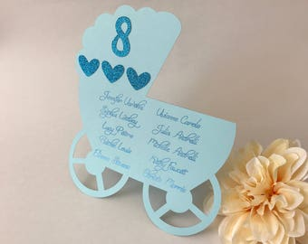 Baby Shower Seating Chart, Baby Shower Place Cards, Baby Shower Decorations, Stroller Seating Chart, Baby Shower Decor, Invitations