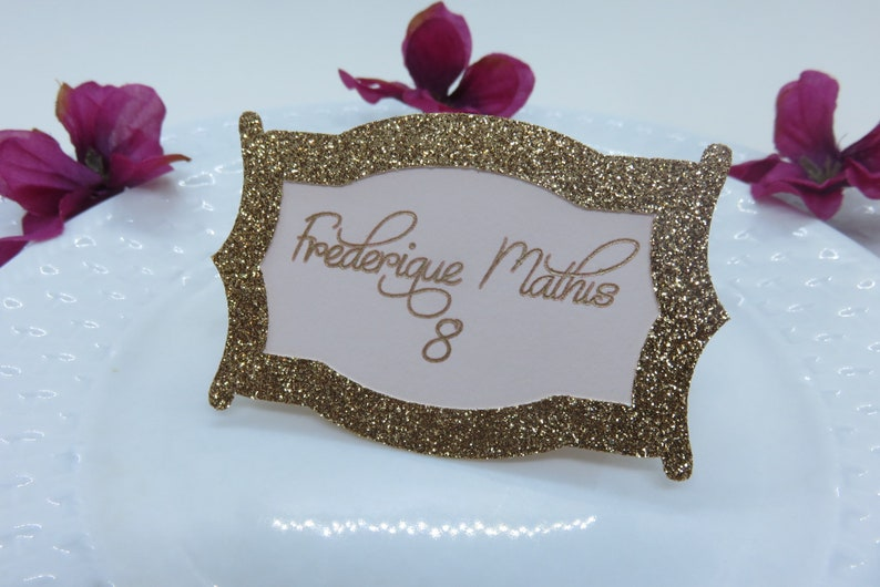 Personalized Place Cards Rose Gold Place Cards Wedding Place Cards Calligraphy Place Cards Custom Place Cards Glitter Place Cards
