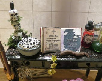 Halloween Dollhouse miniature witch potion table with cauldron and brooms