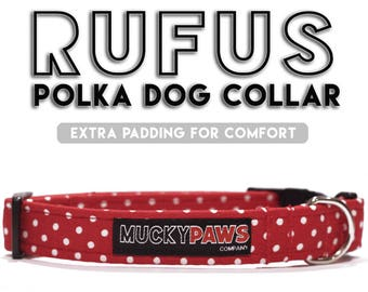 Dog Collar - Rufus Red Polkadot - Various Sizes & Matching Products Available!