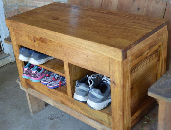 Rustic Entryway Bench With Storage Wood Shoe Cubby Bedroom Etsy