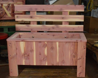 cedar planter, bench planter, flower planter, herb planter, patio planter, flower garden