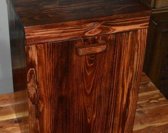Wood trash bin cabinet, tilt out trash bin, pet food container,