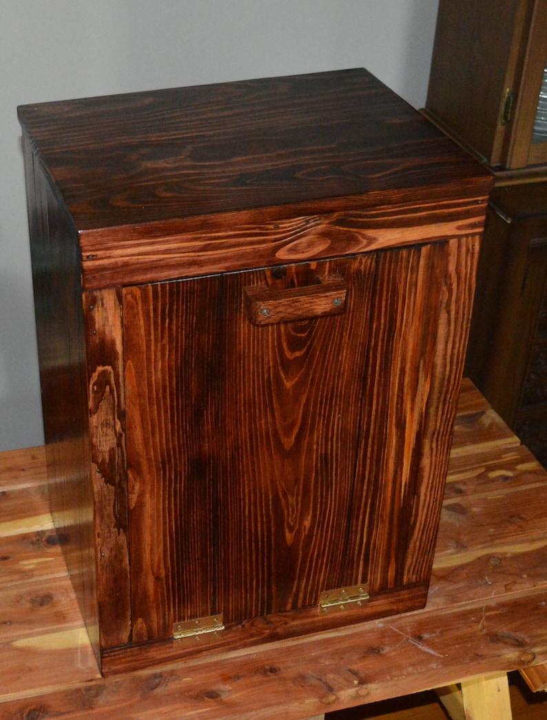Wood Trash Bin Cabinet Tilt Out Trash Bin Pet Food | Etsy