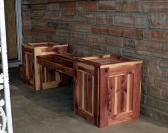 Bench Planter, Flower Bench Planter, Flower Box , Cedar Bench Planter, Wooden Bench, Cedar Bench, Cedar Planter, Flower Garden