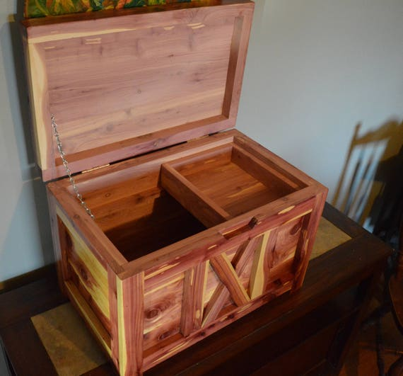 Handcrafted Rustic Cedar Chest With Tray Quilt Sewing Box Keepsake Box Storage Box Keepsake Chest