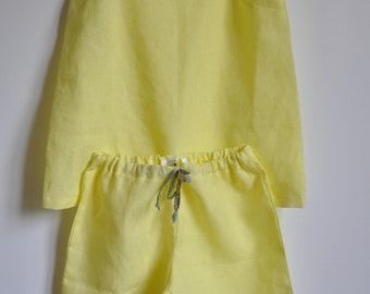 Pajama shorts summer linen and Liberty Betsy