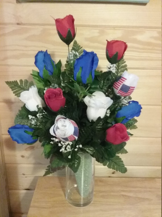 Memory vase red white and blue roses for mausoleum vase etsy image 0 mightylinksfo