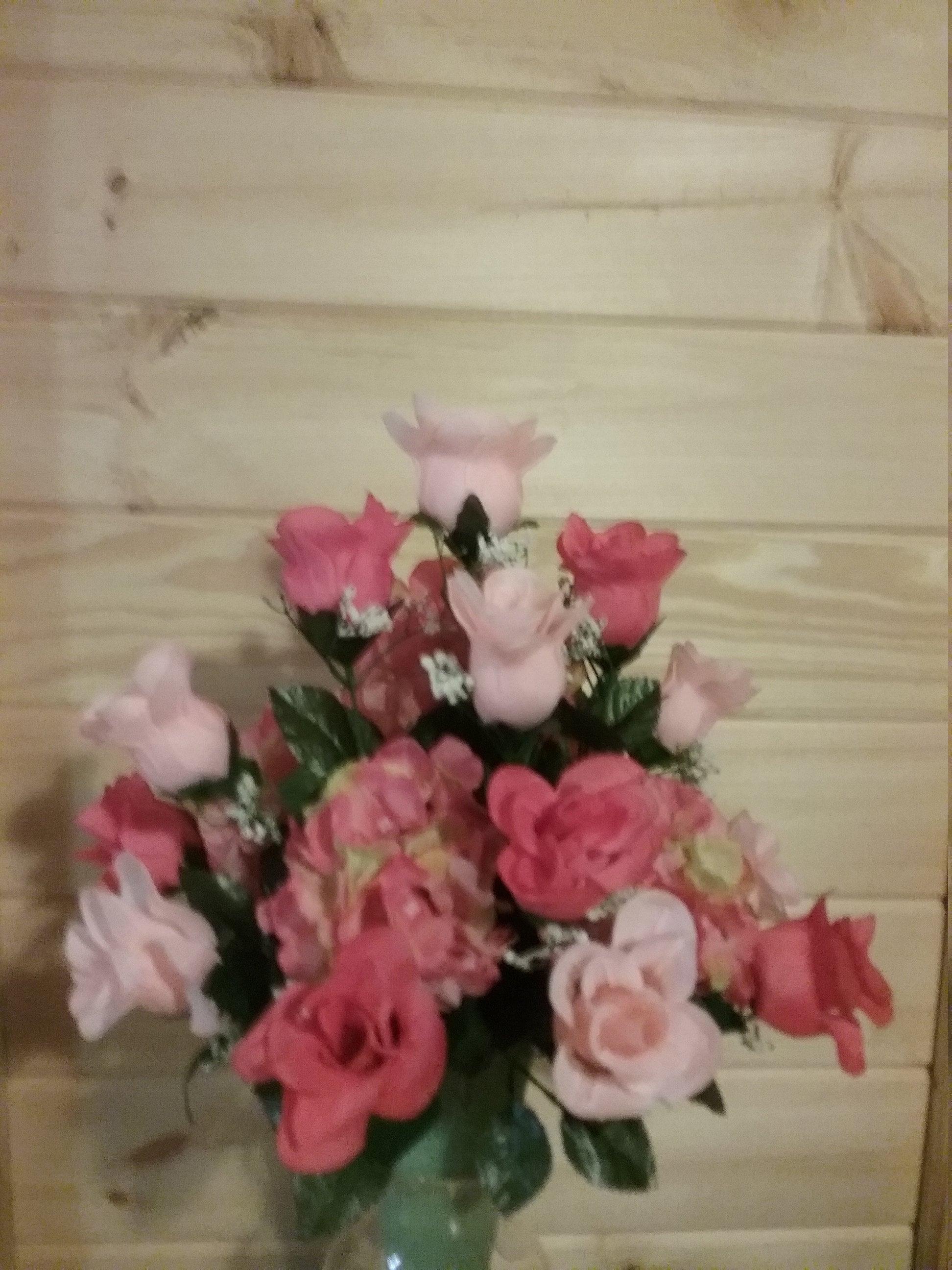 Pink Roses Coral Roses Peach Hydrangeas Memory Vase Cemetery Etsy