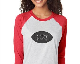 Sunday Funday - Womens Graphic Tee, Football T-Shirt, Ladies Screen Printed Tee, Three-Quarter Sleeve in Red/Heather