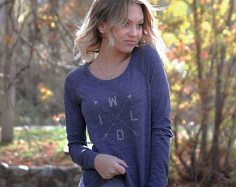 W-I-L-D - Womens Graphic Shirt, Crossed Arrows, Ladies Screen Printed Shirt, Long Sleeve Pullover