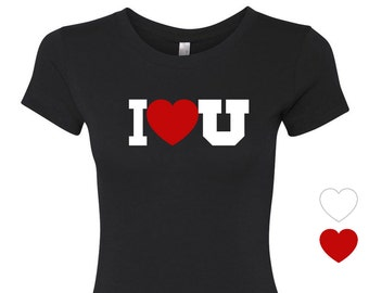 I Heart U - Womens Graphic Tee, College Football T-Shirt, Ladies Screen Printed Tee in Black, Red or White