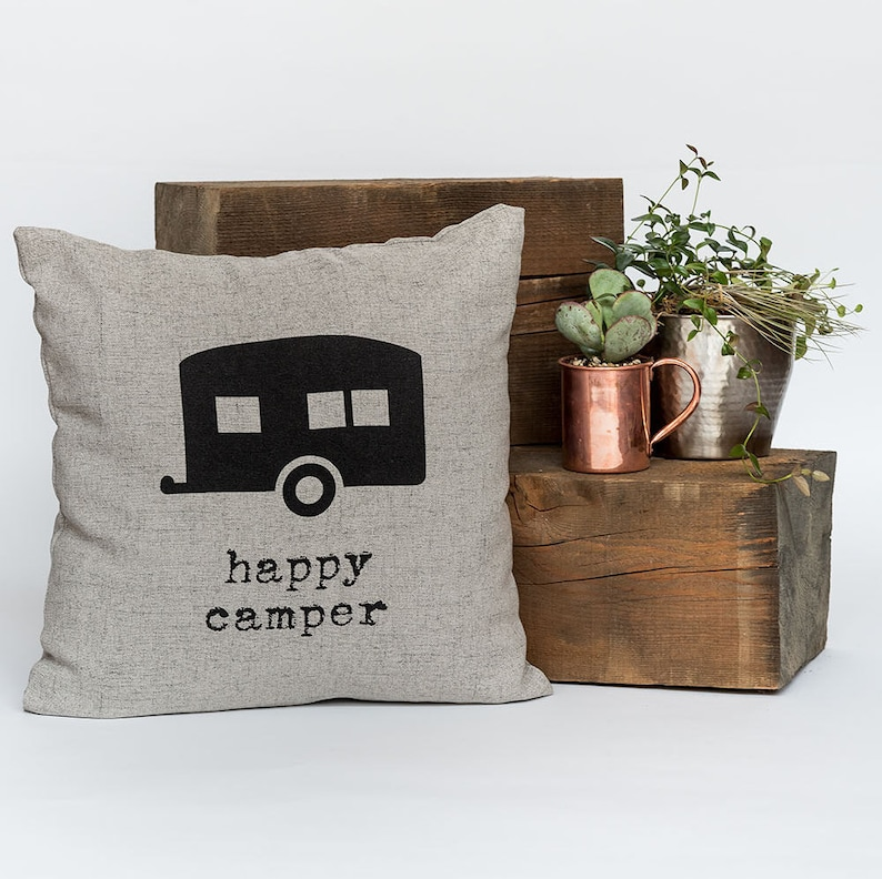 Happy Camper  Throw Pillow Decorative Pillow Accent Pillow image 0